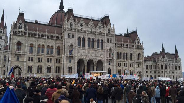 «Orban raus» rufen am 1. Februar 2015 3000 ungarische Demonstranten in Budapest.