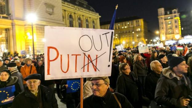 Aufnahme von Demonstranten in Budapest.