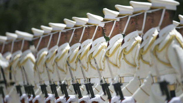 Japanische Soldaten stehen in einer Reihe.