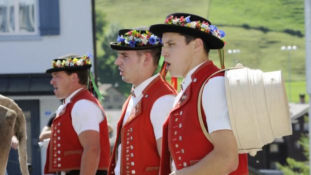 Männer in Appenzeller Trachten beim Alpabzug.