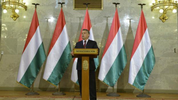 Viktor Orban bei einer Rede im Parlamentsgebäude in Budapest.