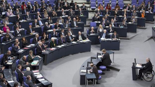 Aufnahme des deutschen Bundestags bei einer Sitzung.