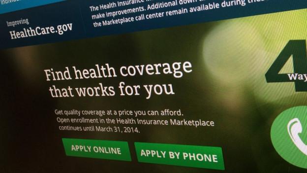 Aufnahme der Webseite der Krankenversicherung Obamacare.