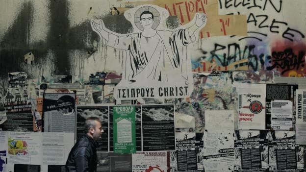Ein Poster zeigt den griechischen Regierungschef als neuen Heilsbringer.