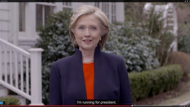 Auf dem Bild ist ein Ausschnitt mit Hillary Clinton zu sehen. Am Sonntag teilte sie auf ihrer Webseite mit, ins Rennen um die Präsidentschaft im kommenden Jahr zu steigen.