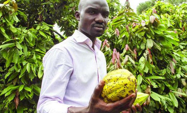 Stephen Sembuya hält Kakaofrüchte in der Hand.