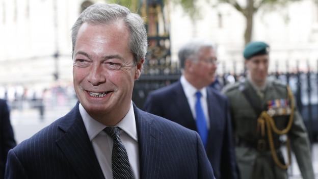 Nigel Farage lacht in die Kamera.