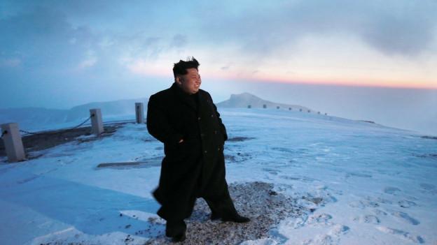 Aufnahme des nordkoreanischen Machthabers Kim Jong Un im Schnee