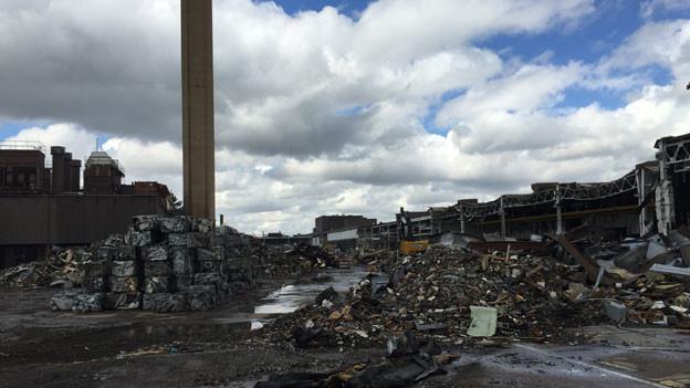 Premier Harper hat Kanadas Industrie vernachlässigt. Abbruch einer Autofabrik in Windsor, Ontario.