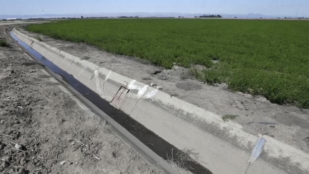 Durch die Bewässerungsrinne fliesst nur noch ein karges Rinnsal.