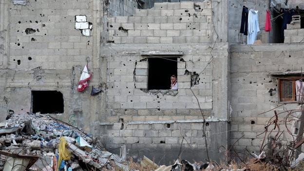 Zerstörtes Gebäude nach Gaza-Krieg im Sommer 2014