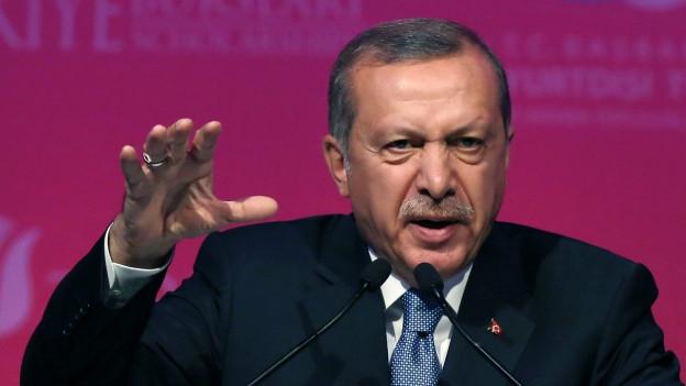 Aufnahme des türkischen Staatspräsidenten Erdogan bei einem Auftritt vor den Medien.