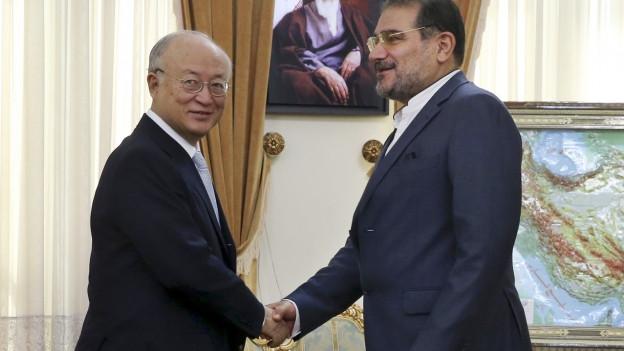 IAEA-Chef Yukiya Amano und der Sekretär des iranischen Sicherheitsrats, Ali Schamchani, geben sich die Hand in der iranischen Hauptstadt Teheran.