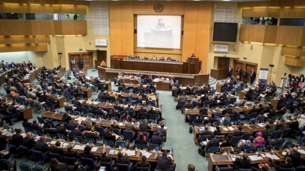 Blick auf den gefüllten Plenarsaal der UNO-Konferenz.