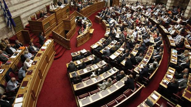 Aufnahmne des griechischen Parlaments aus der Vogelperspektive.