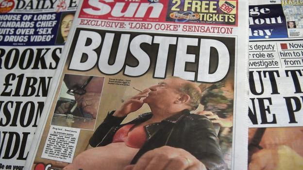 Aufnahme des Titelblattes der Zeitung The Sun über den Skandal im britischen Oberhaus.