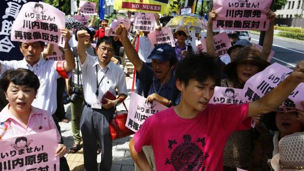 Demonstranten auf den Strassen Tokios protestieren mit Transparenten gegen Atomenergie.