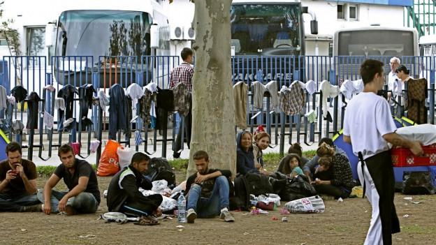 Zu sehen sind Flüchtlinge in Belgrad; sie rasten auf ihrer Durchreise nach Westeuropa.