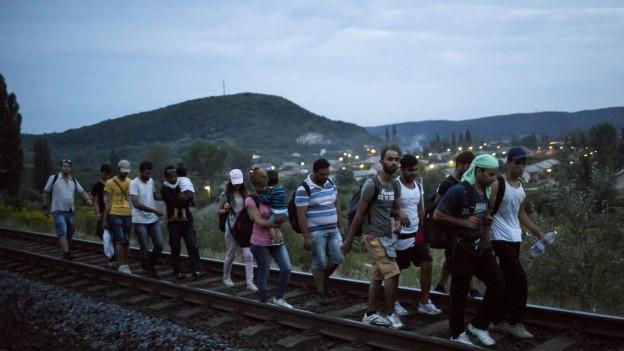 Flüchtlinge laufen einem Bahngeleise in Ungarn entlang.