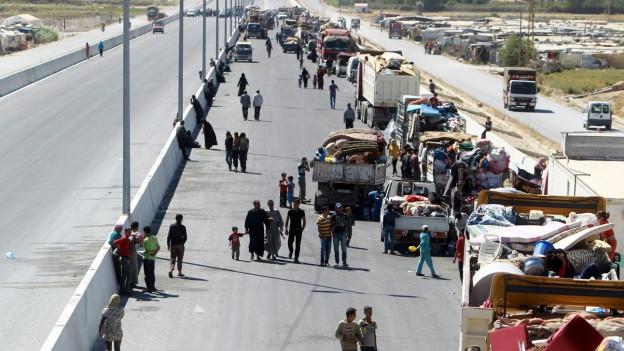 Syrische Flüchtlinge an der Grenze zu Libanon.