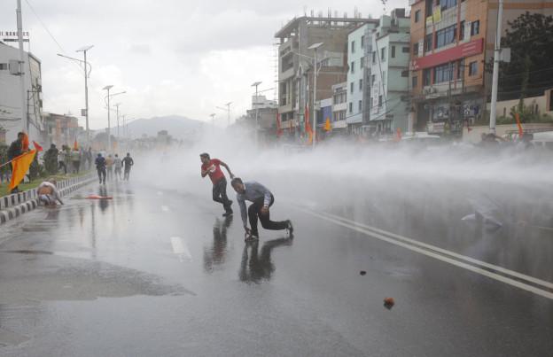 Proteste in Katmandu gegen die Verfassung am 14. September 2014