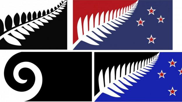 Auf dem Bild sind vier der fünf Flaggenvariante, einer möglichen neuen Neuseelandflagge zu sehen.