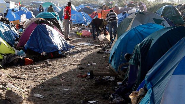 Rund 3500 Migranten und Flüchtlinge hausen im Lager namens «The New Jungle» in Calais, Frankreich. Die meisten von ihnen haben die Hoffnung, die Überfahrt nach England zu schaffen.