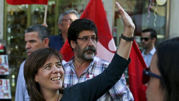 Die linke Politikerin Martins bei einem Wahlkampfauftritt in Braga.