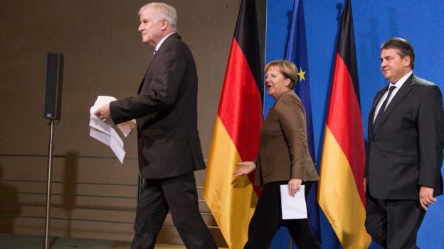 Horst Seehofer, Angela Merkel und Sigmar Gabriel