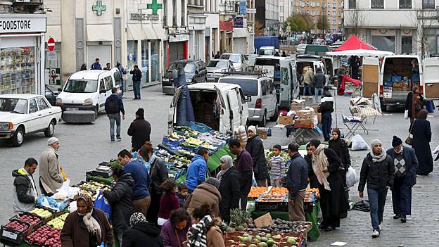 Ein kleiner Markt in Molenbeek.