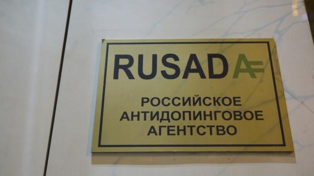 Das Schild der Anti-Dopingagentur in Moskau.