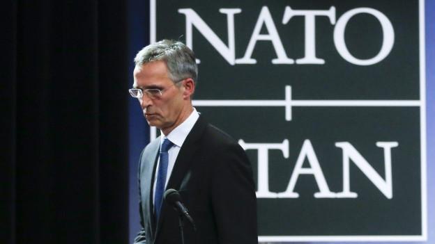 NATO-Generalsekretär Jens Stoltenberg bei einer Pressekonferenz in Brüssel.