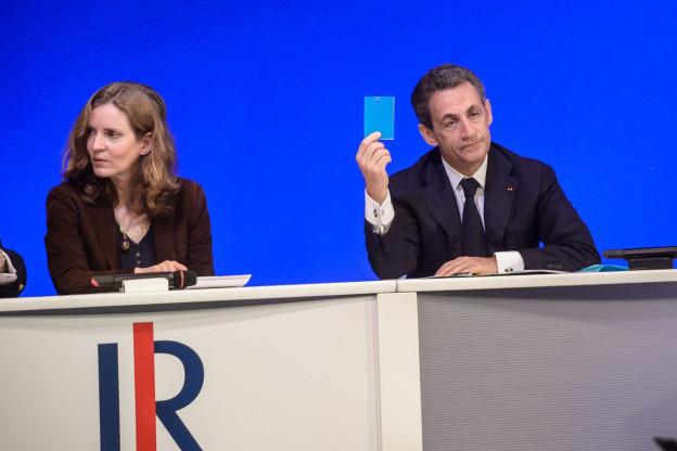 Republikanerchef Nicolas Sarkozy und seine Stellvertreterin Nathalie Kosciusko-Morizet an einer Medienkonferenz.