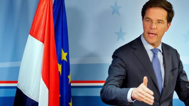 Der niederländische Premierminister Mark Rutte bei einer Pressekonferenz.