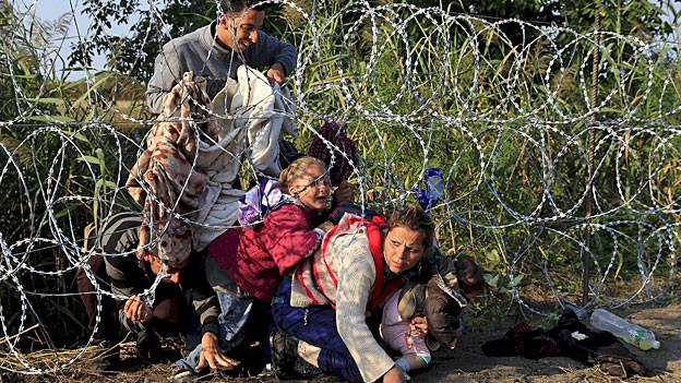Eine syrische Familie - Vater, Mutter und zwei Kleinkinder - überwinden an der serbisch-ungarischen Grenze einen dreifachen Nato-Drahtzaun.