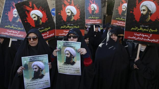 Zu sehen sind Proteste gegen die Hinrichtung des schiitischen Geistlichen NImr Al-Nimr vor der saudischen Botschaft in Teheran.