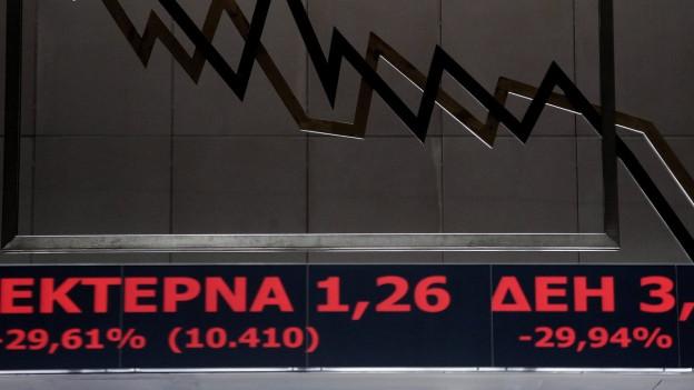 Ein elektronisches Bord zeigt in seinem Display die Aktienkurse vom 3. August 2015 an der Börse in Athen.