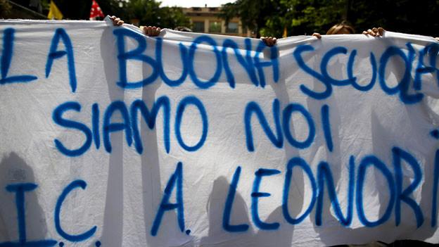 Demonstrationen in Rom wegen Italiens Bildungsreform.