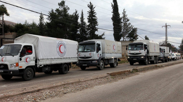 Lastwagen fahren in einer Kolonne dicht hintereinander.