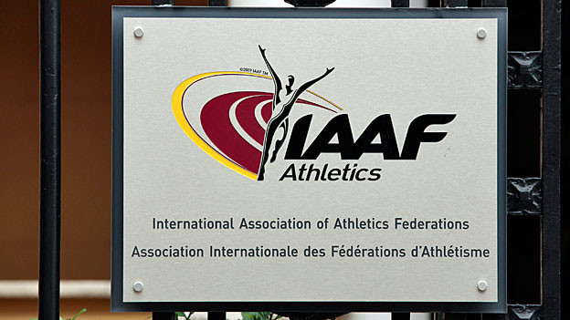 Das Logo des IAAF am Hauptsitz in Monaco.