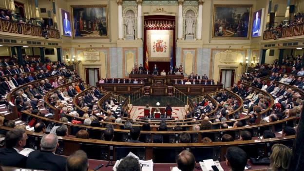 Der Saal des spanischen Parlamentes in Madrid.