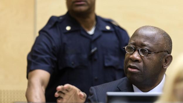 Der ehemalige Präsident der Elfenbeinküste Laurent Gbagbo vor dem Internationalen Gerichtshof.