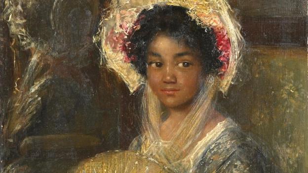 Portrait einer schwarzen Frau mit Fächer.