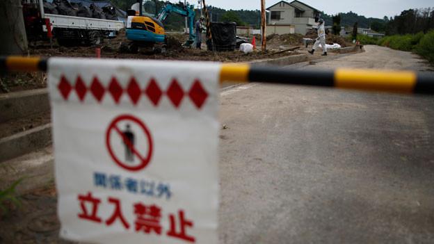 Dekontaminierung in der Stadt Naraha in Japan.