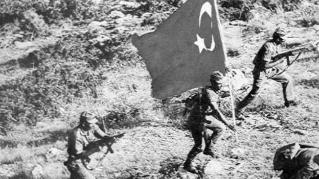 Zypern: Türkische Soldaten während der Invasion 1974.