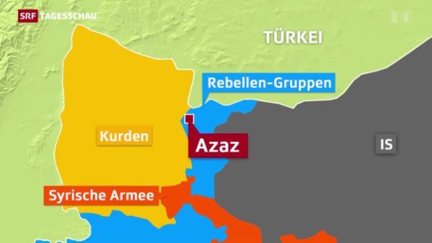 Eine Karte zeigt die Angriffe zwischen Syrien und der Türkei auf