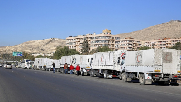 UNO-Hilfskonvoi unterwegs nach Madaya.