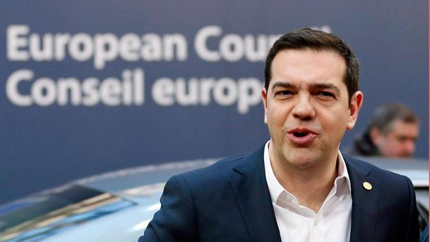 Der griechische Ministerpräsident Alexis Tsipras vor dem EU-Gebäude in Brüssel.