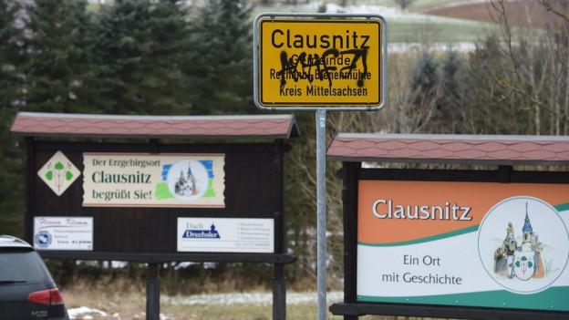 Ortstafel von Clausnitz