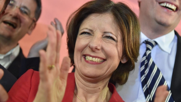 In Rheinland-Pfalz gewann die SPD Malu Dreyer von der Sozialdemokratischen Partei (SPD) freut sich.